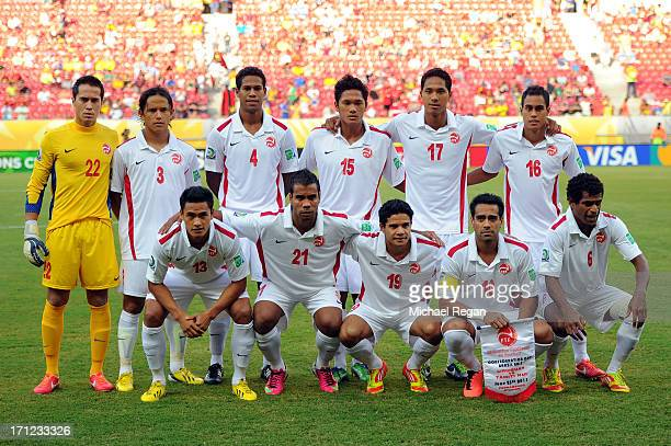 Tahiti poses for a team photo during the FIFA Confederations Cup Brazil 2013 Group B match between Uruguay and Tahiti at Arena Pernambuco on June 22...