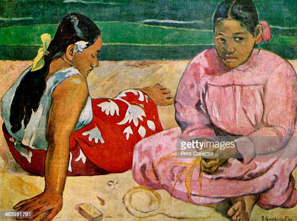 'Tahitian Women on the Beach' 1891 Found in the collection of the Musee d'Orsay Paris France Plate taken from Gauguin by John Rewald published by...