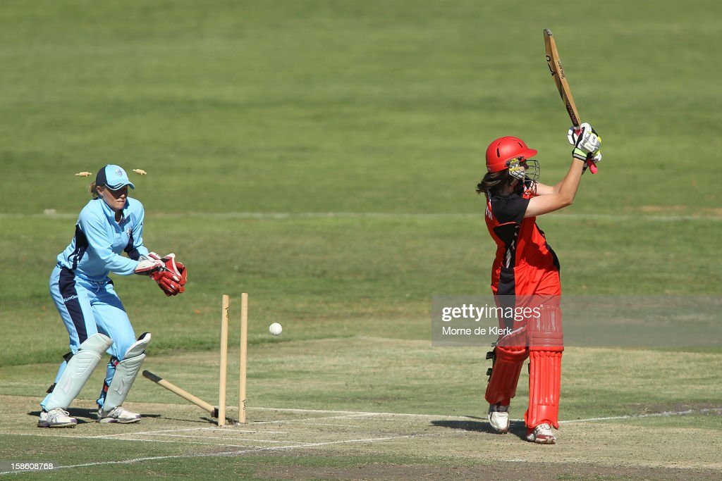 Tahlia McGrath of the Scorpions is bowled out during the women's Twenty20 match between the South Australia Scorpions and the New South Wales Breakers at Prospect Oval on December 21, 2012 in Adelaide, Australia.