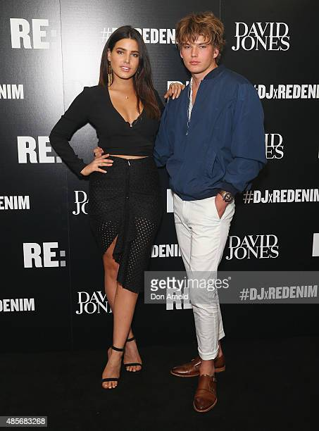 Tahnee Atkinson and Jordan Barrett pose at the RE Denim for David Jones launch party at St James Station on August 29 2015 in Sydney Australia