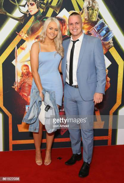 Tahnee Sims and Johnny Ruffo arrive for the premiere screening of Thor Ragnarok Sydney at Fox Studios on October 15 2017 in Sydney Australia