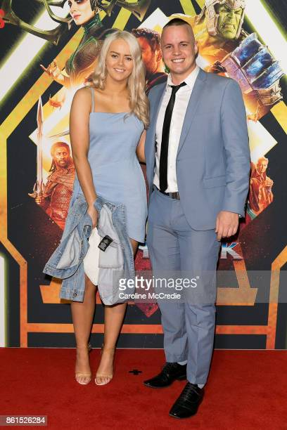 Tahnee Sims and Johnny Ruffo attend the THOR RAGNAROK Sydney special event screening at Hoyts Entertainment Quarter Sydney Australia on October 15...