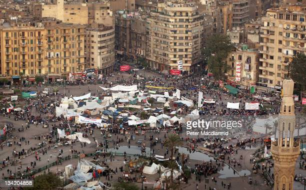 Tahrir Square is occupied by only a few hundred protestors on election day on November 28 2011 in Cairo Egypt Eleven months after the fall of Hosni...
