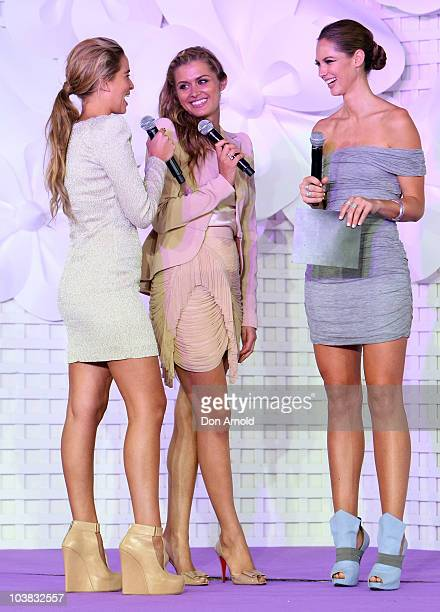 Tahyna Tozzi Cheyenne Tozzi and Nikki Phillips cohost the Fashion Show Day during 30 Days of Fashion and Beauty at The Entertainment Quarter on...