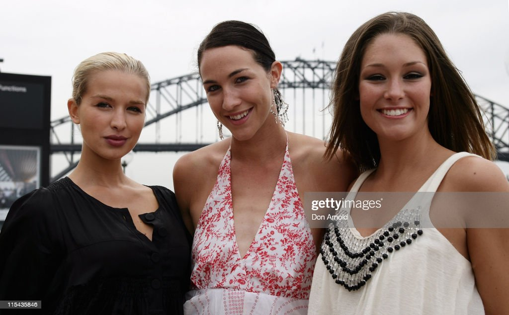 Tahyna Tozzi Elka Graham and Erin McNaught attend a photo call for the Harvey Norman Sleep Number bed Harvey Norman Executive Chairman Gerry Harvey...