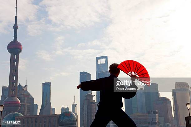 Tai Chi & Fan, Pudong Skyline, Shanghai
