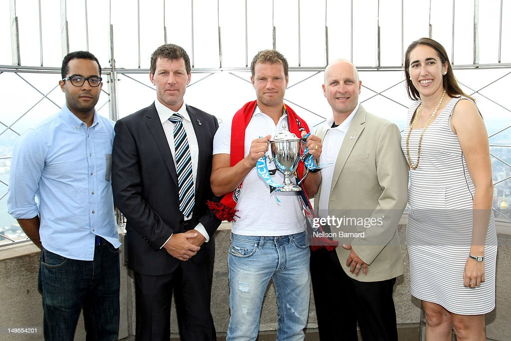 Tai Foster, Dan Metcalfe, Teemu Tainio, Sean Flynn and Ann Rodriguez visit The Empire State Building's world famous observatory to promote the Barclays New York Cup Powered By Under Armour on July 30, 2012 in New York City.