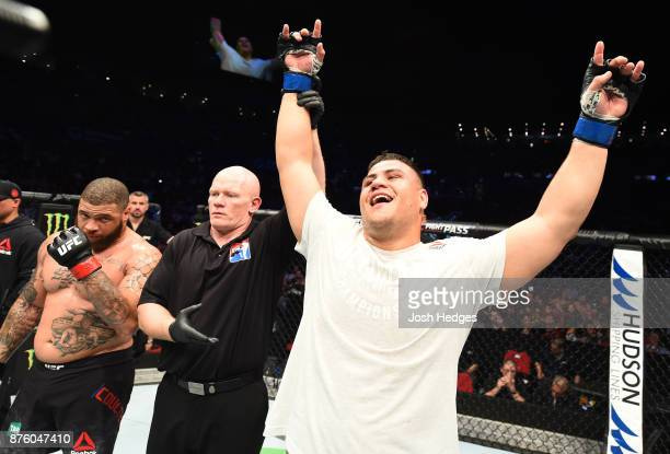 Tai Tuivasa celebrates his knockout victory over Rashad Coulter in their heavyweight bout during the UFC Fight Night event inside the Qudos Bank...