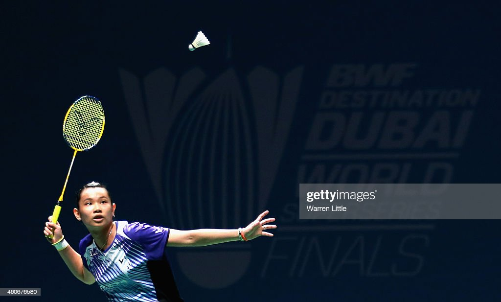 <a gi-track='captionPersonalityLinkClicked' href=/galleries/search?phrase=Tai+Tzu+Ying&family=editorial&specificpeople=7058950 ng-click='$event.stopPropagation()'>Tai Tzu Ying</a> of Chines Taipai in action against Akane Yamaguchi of Japan during the Women's Singles Group B matches on day three of the BWF Destination Dubai World Superseries Finals at the Hamdan Sports Complex on December 19, 2014 in Dubai, United Arab Emirates.