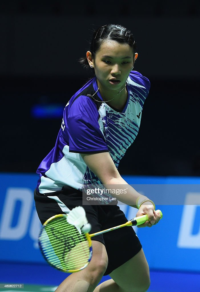 <a gi-track='captionPersonalityLinkClicked' href=/galleries/search?phrase=Tai+Tzu+Ying&family=editorial&specificpeople=7058950 ng-click='$event.stopPropagation()'>Tai Tzu Ying</a> of Chinese Taipe in action against Wang Yihan of China in the Womens Singles during day two of the BWF Destination Dubai World Superseries Finals on December 18, 2014 in Dubai, United Arab Emirates.