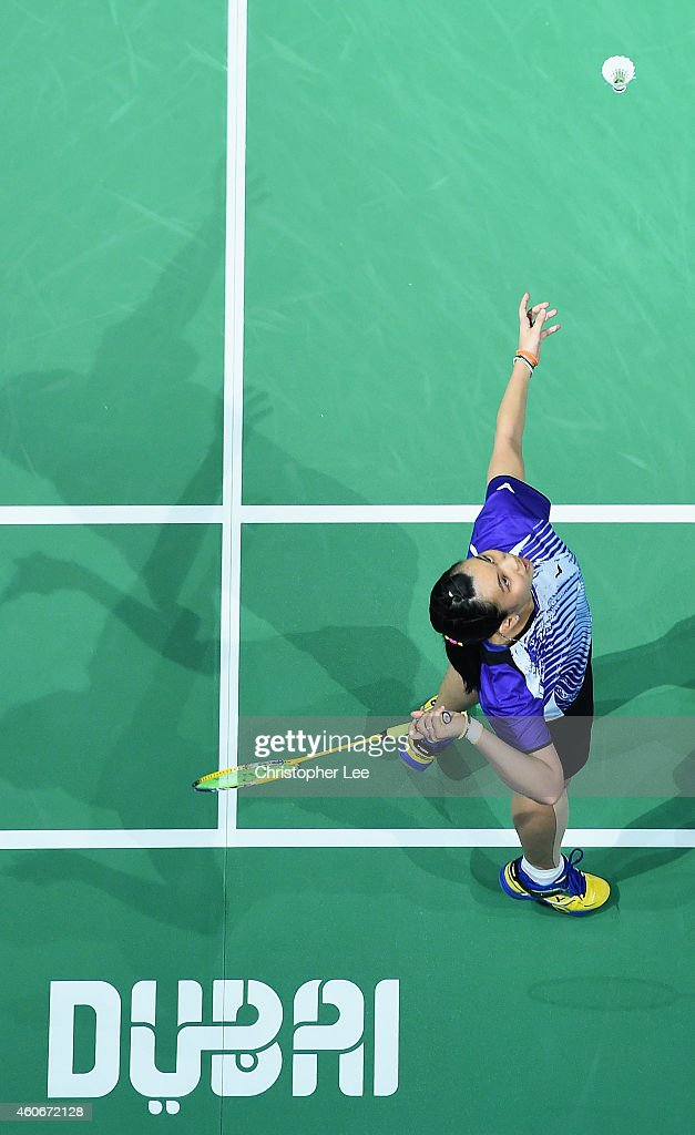 <a gi-track='captionPersonalityLinkClicked' href=/galleries/search?phrase=Tai+Tzu+Ying&family=editorial&specificpeople=7058950 ng-click='$event.stopPropagation()'>Tai Tzu Ying</a> of Chinese Taipei in action against Akane Yamaguchi of Japan in the Womens Singles during the BWF Destination Dubai World Superseries Finals day three at the Hamdan Sports Complex on December 19, 2014 in Dubai, United Arab Emirates.