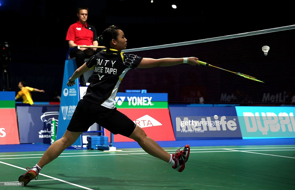 <a gi-track='captionPersonalityLinkClicked' href=/galleries/search?phrase=Tai+Tzu+Ying&family=editorial&specificpeople=7058950 ng-click='$event.stopPropagation()'>Tai Tzu Ying</a> of Chinese Taipei in action against Carolina Marin of Spain in the Women's singles during day one of the BWF Dubai World Superseries 2015 Finals at the Hamdan Sports Complex on on December 9, 2015 in Dubai, United Arab Emirates.