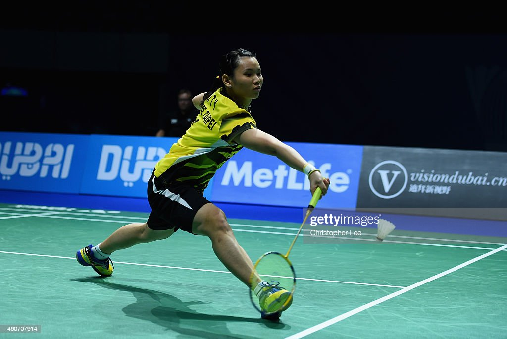 <a gi-track='captionPersonalityLinkClicked' href=/galleries/search?phrase=Tai+Tzu+Ying&family=editorial&specificpeople=7058950 ng-click='$event.stopPropagation()'>Tai Tzu Ying</a> of Chinese Taipei in action against Saina Nehwal of India in the Womens Singles Semi-Final during the BWF Destination Dubai World Superseries Finals day four at the Hamdan Sports Complex on December 20, 2014 in Dubai, United Arab Emirates.