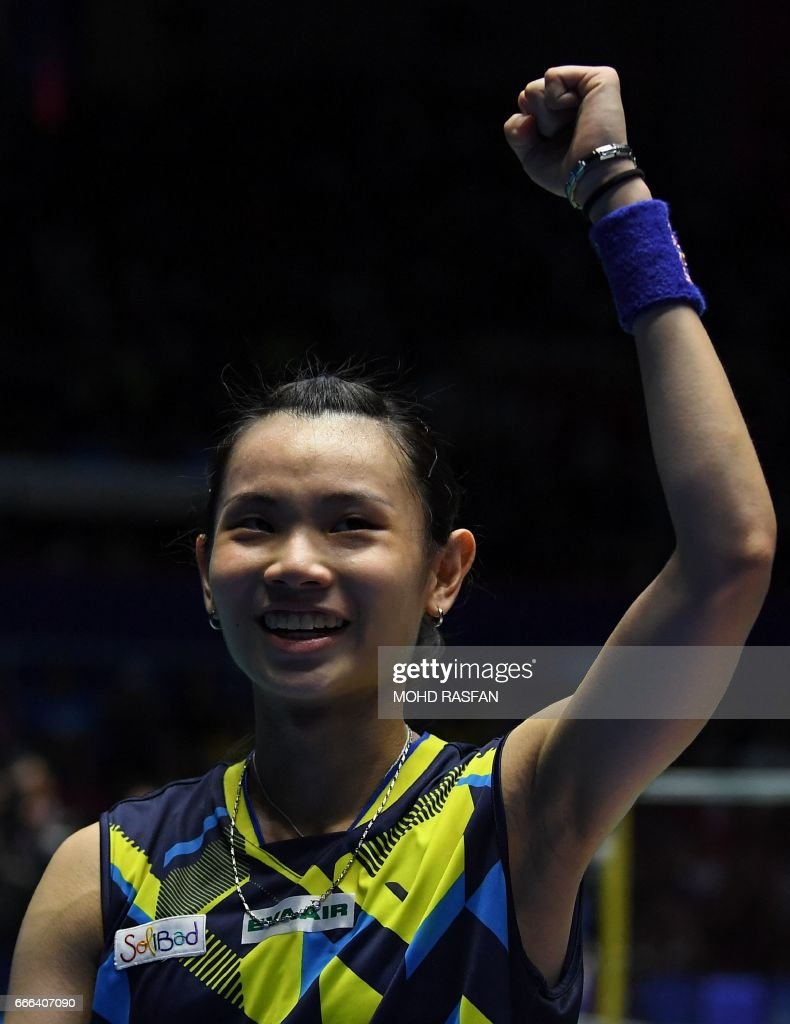 Tai Tzu Ying of Taiwan celebrates her victory over Carolina Marin