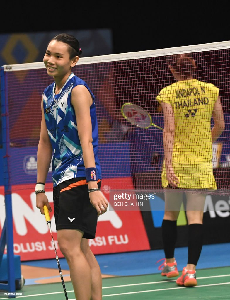 Tai TzuYing L of Taiwan reacts after losing a point against