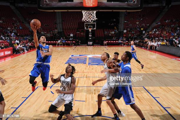 Tai Webster of the Golden State Warriors goes to the basket against the LA Clippers on July 14 2017 at the Thomas Mack Center in Las Vegas Nevada...
