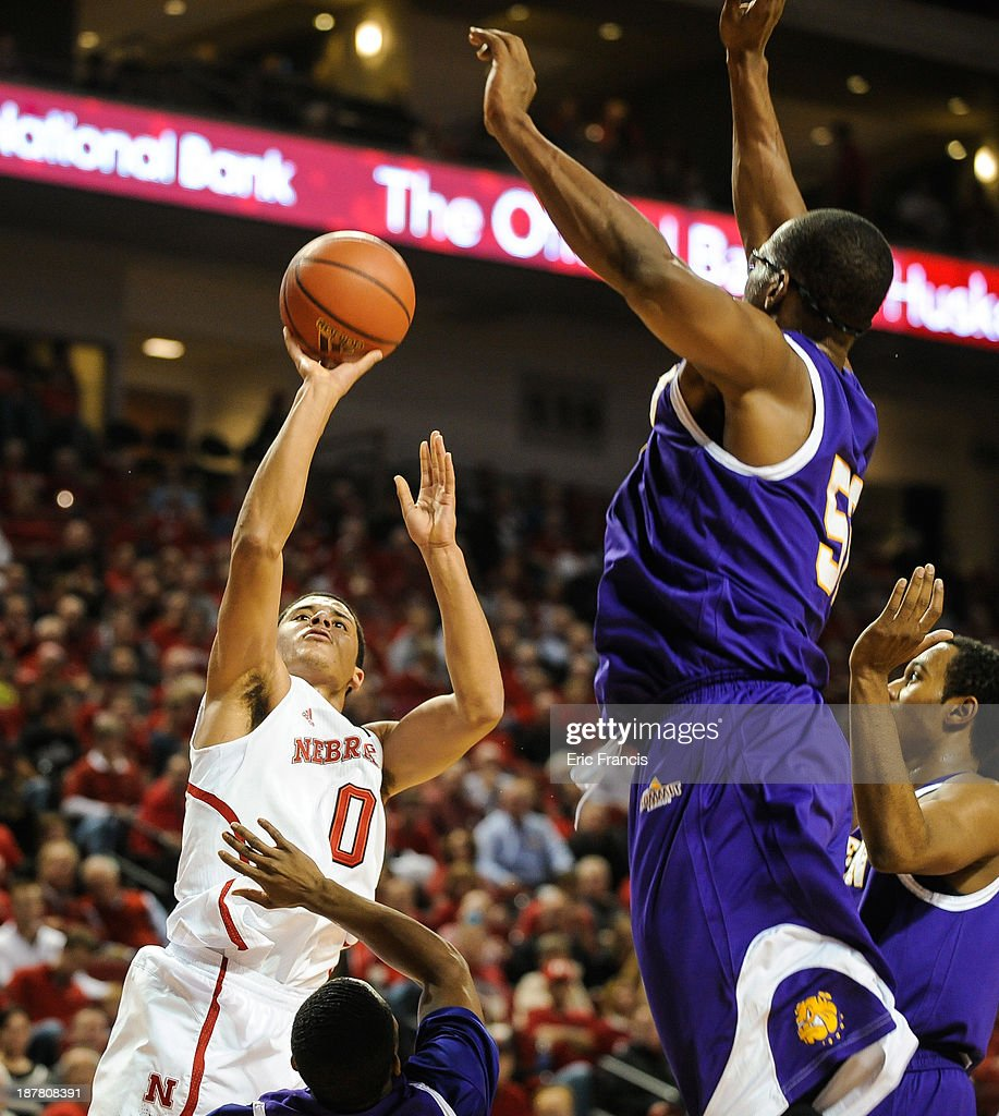 Tai Webster #0 of the Nebraska Cornhuskers shoots over Michael Ochereobia #52 of the Western Illinois Leathernecks during their game at Pinnacle Bank Arena on November 12, 2013 in Lincoln, Nebraska.