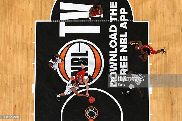 Tai Wesley of United and Jesse Wagstaff of the Wildcats contest a rebound during the round 10 NBL match between the Perth Wildcats and Melbourne...
