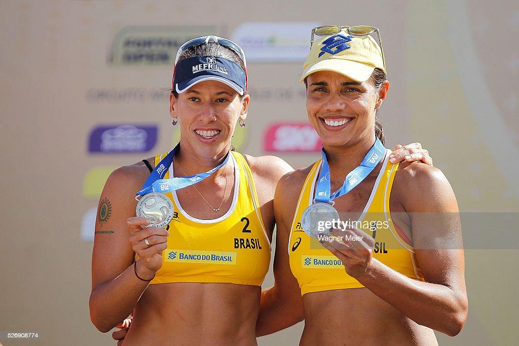 Taiana Lima and Juliana Felisberta of Brazil, receive Silver Medal during the Women Awarding ceremony during the FIVB Fortaleza Open on Futuro Beach on May 01, 2016 in Fortaleza, Brazil.