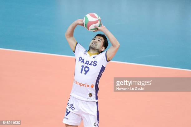 Taichiro Koga of Paris during the volleyball Ligue A match between Paris Volley and Nantes Reze at Salle Pierre Charpy on February 23 2017 in Paris...