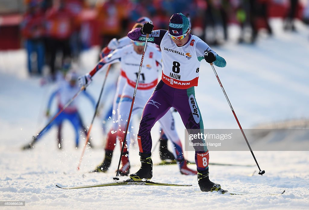 <a gi-track='captionPersonalityLinkClicked' href=/galleries/search?phrase=Taihei+Kato&family=editorial&specificpeople=4855042 ng-click='$event.stopPropagation()'>Taihei Kato</a> of Japan competes during the Men's Nordic Combined 10km Cross-Country during the FIS Nordic World Ski Championships at the Lugnet venue on February 20, 2015 in Falun, Sweden.