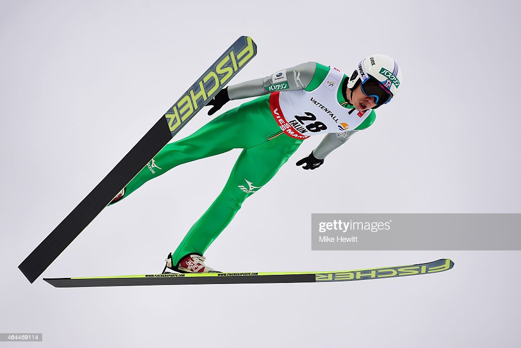 <a gi-track='captionPersonalityLinkClicked' href=/galleries/search?phrase=Taihei+Kato&family=editorial&specificpeople=4855042 ng-click='$event.stopPropagation()'>Taihei Kato</a> of Japan competes during the Men's Nordic Combined HS134 Large Hill Ski Jumping during the FIS Nordic World Ski Championships at the Lugnet venue on February 26, 2015 in Falun, Sweden.