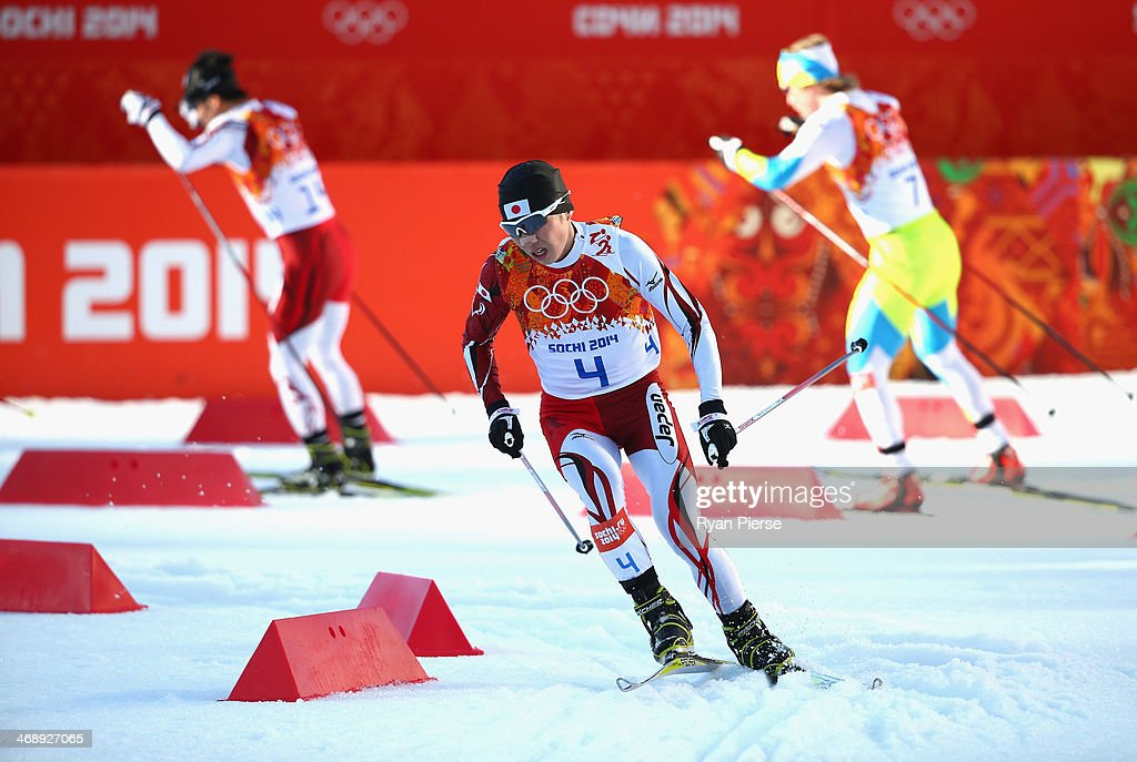Taihei Kato of Japan competes in the Nordic Combined Individual NH / 10 km during day five of the Sochi 2014 Winter Olympics at RusSki Gorki Jumping Center on February 12, 2014 in Sochi, Russia.