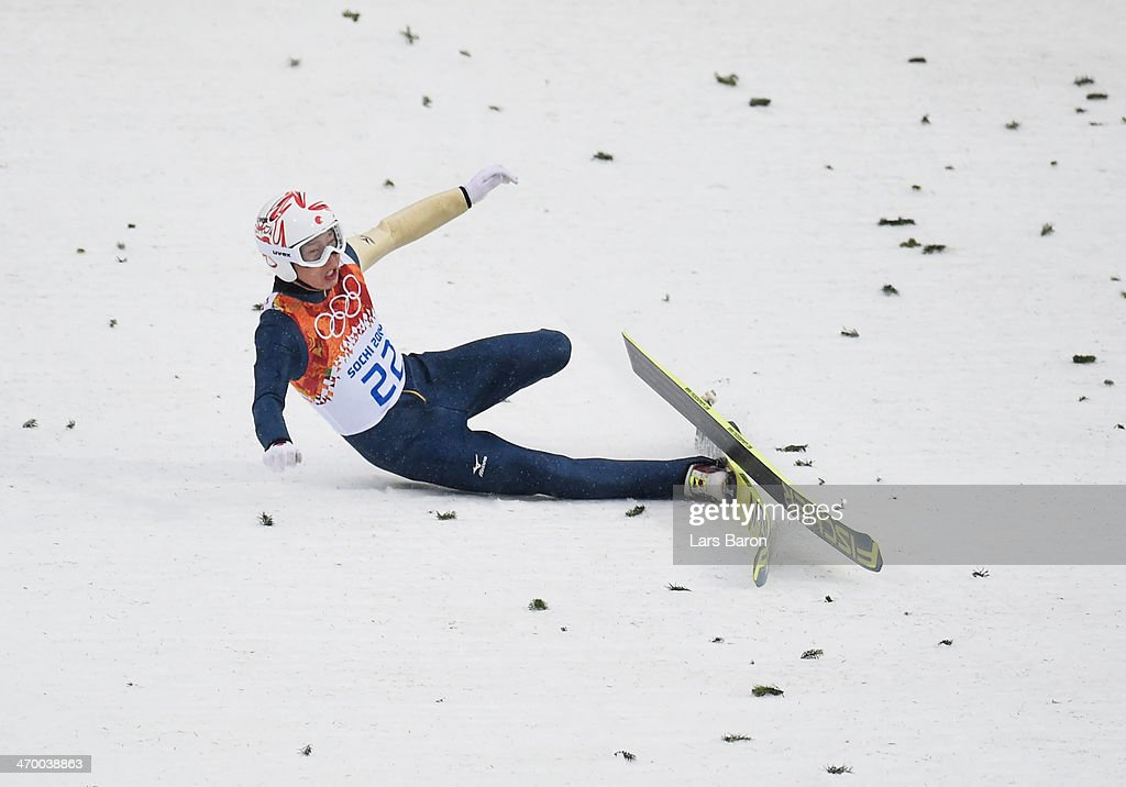 <a gi-track='captionPersonalityLinkClicked' href=/galleries/search?phrase=Taihei+Kato&family=editorial&specificpeople=4855042 ng-click='$event.stopPropagation()'>Taihei Kato</a> of Japan crashes as he competes in the Nordic Combined Men's Individual LH during day 11 of the Sochi 2014 Winter Olympics at RusSki Gorki Jumping Center on February 18, 2014 in Sochi, Russia.