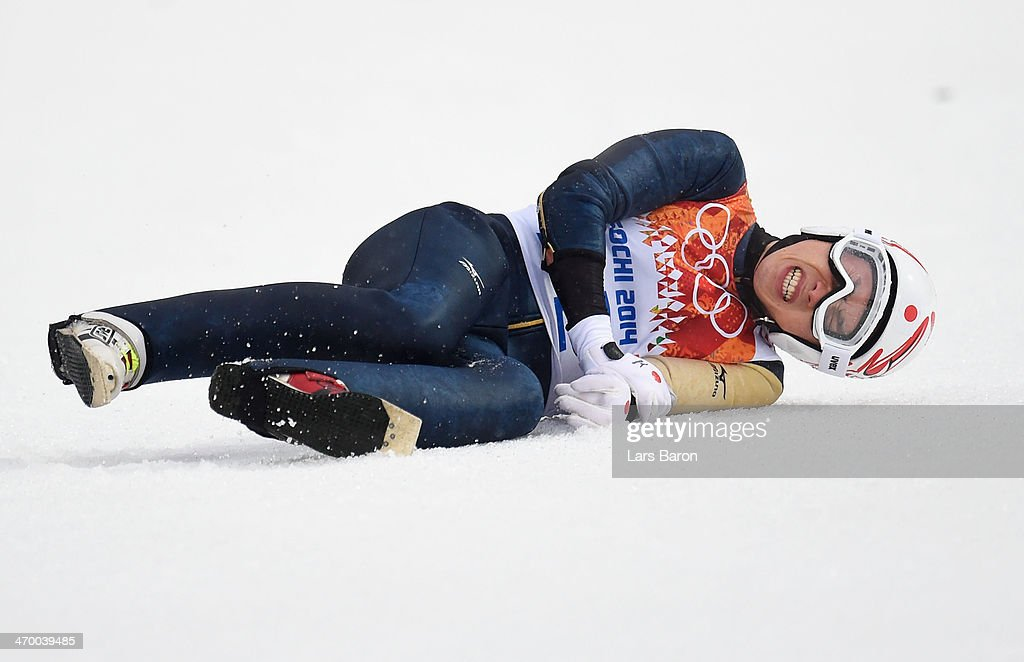 Taihei Kato of Japan crashes as he competes in the Nordic Combined Men's Individual LH during day 11 of the Sochi 2014 Winter Olympics at RusSki Gorki Jumping Center on February 18, 2014 in Sochi, Russia.