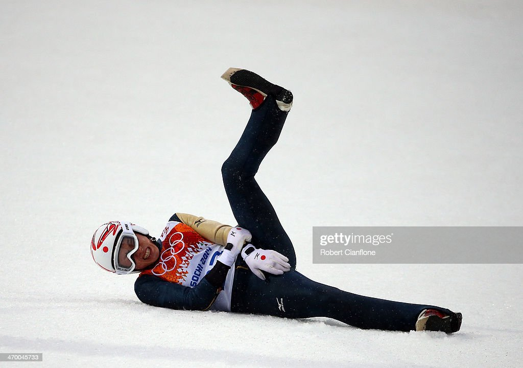 <a gi-track='captionPersonalityLinkClicked' href=/galleries/search?phrase=Taihei+Kato&family=editorial&specificpeople=4855042 ng-click='$event.stopPropagation()'>Taihei Kato</a> of Japan crashes as he competes in the Nordic Combined Men's Individual LH on day 10 of the Sochi 2014 Winter Olympics at RusSki Gorki Jumping Center on February 18, 2014 in Sochi, Russia.