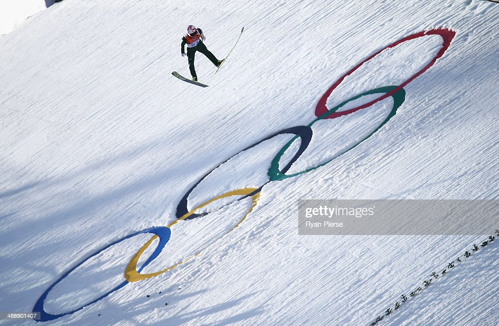 <a gi-track='captionPersonalityLinkClicked' href=/galleries/search?phrase=Taihei+Kato&family=editorial&specificpeople=4855042 ng-click='$event.stopPropagation()'>Taihei Kato</a> of Japan jumps during the Nordic Combined Individual NH / 10 km during day five of the Sochi 2014 Winter Olympics at RusSki Gorki Jumping Center on February 12, 2014 in Sochi, Russia.
