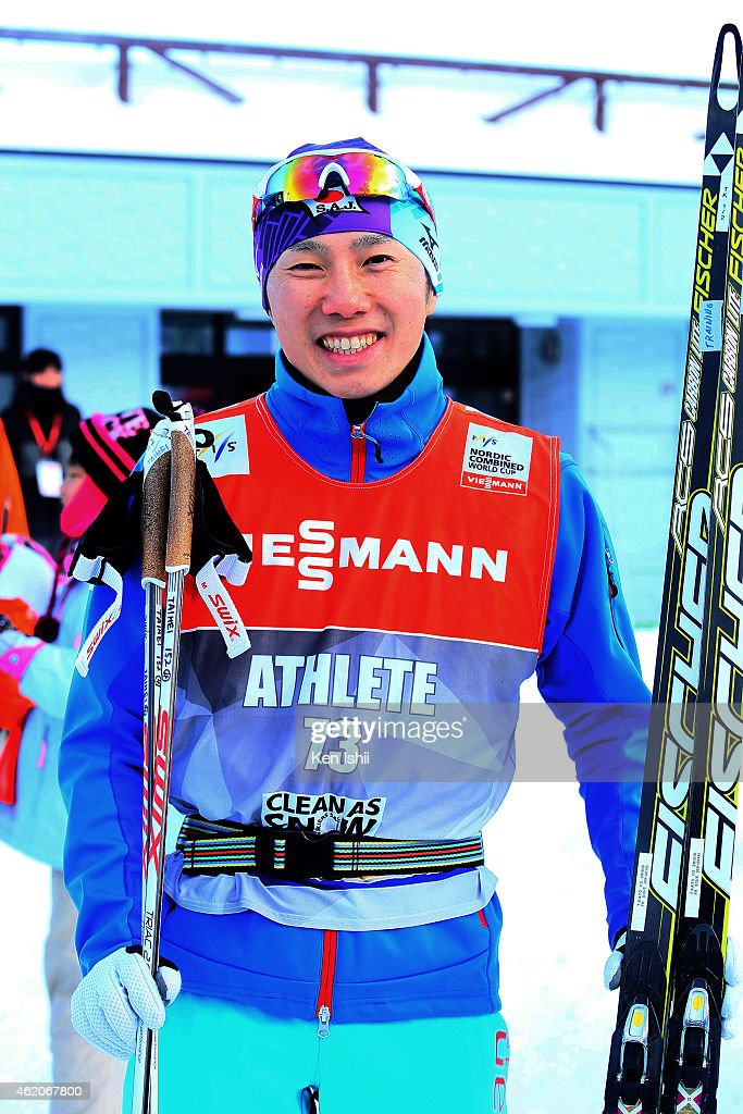 <a gi-track='captionPersonalityLinkClicked' href=/galleries/search?phrase=Taihei+Kato&family=editorial&specificpeople=4855042 ng-click='$event.stopPropagation()'>Taihei Kato</a> of Japan poses for photos after the XC 10 km Individual Gundersen during the day two of FIS Men's Nordic Combined World Cup at Shirahatayama Stadium on January 24, 2015 in Sapporo, Japan.