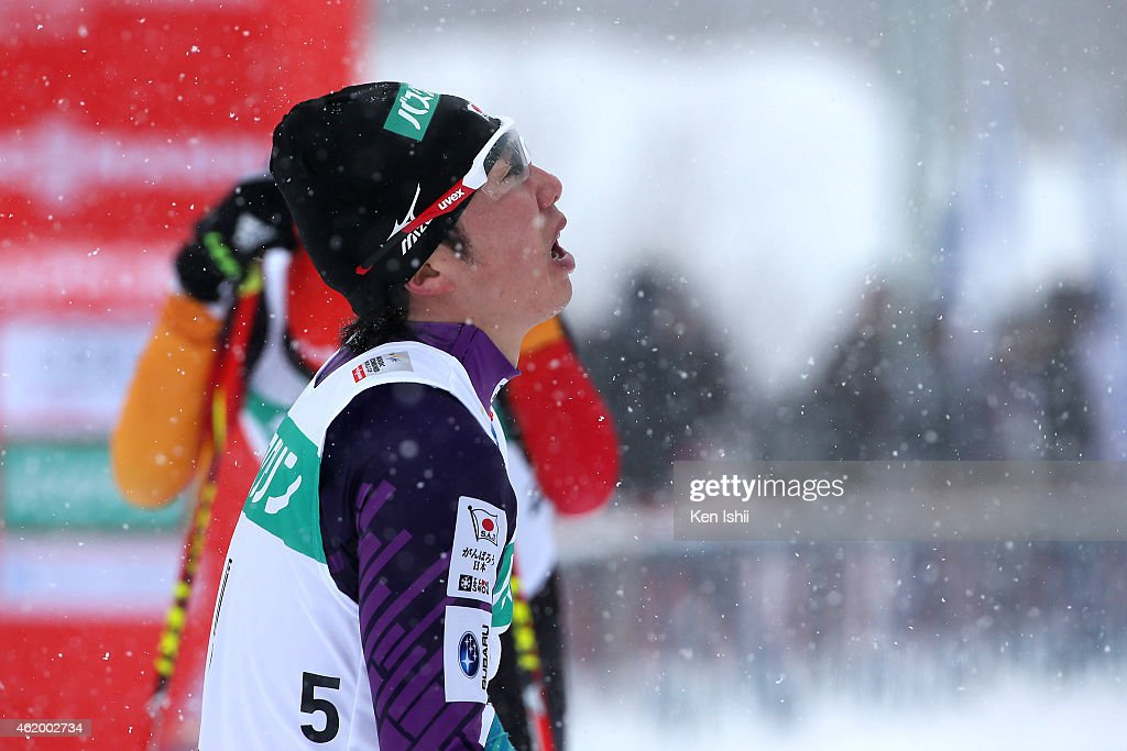 Taihei Kato of Japan reacts after the competition in the XC 10 km Individual Gundersen during day one of FIS Men's Nordic Combined World Cup at Shirahatayama Stadium on January 23, 2015 in Sapporo, Japan.