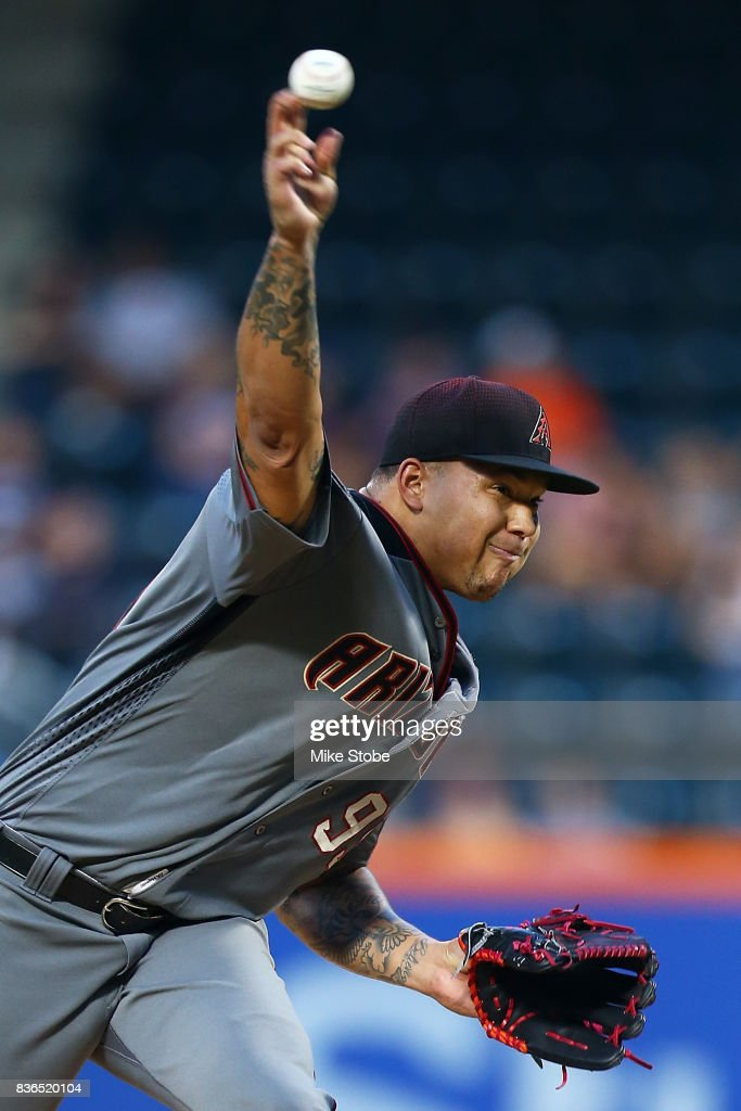 Taijuan Walker #99 of the Arizona Diamondbacks pitches in the first inning against the New York Mets at Citi Field on August 21, 2017 in the Flushing neighborhood of the Queens borough of New York City.