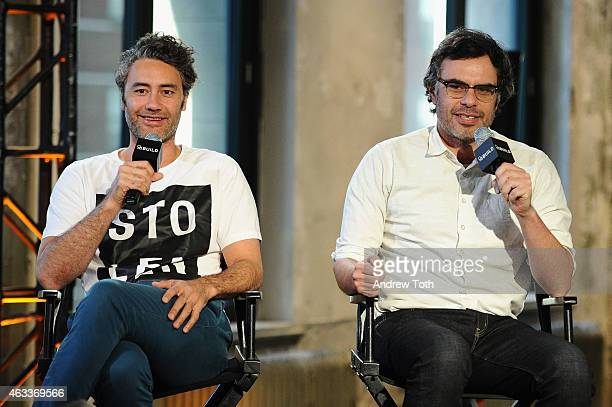 Taika Waititi and Jemaine Clement speak on stage during AOL BUILD Speaker Series Jemaine Clement and Taika Waititi at AOL Studios In New York on...