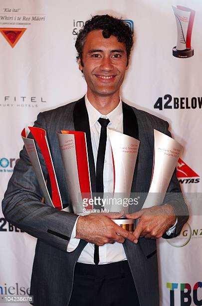 Taika Waititi poses with all four of his awards at the 2010 Qantas Film Television Awards at the Civic Theatre on September 18 2010 in Auckland New...