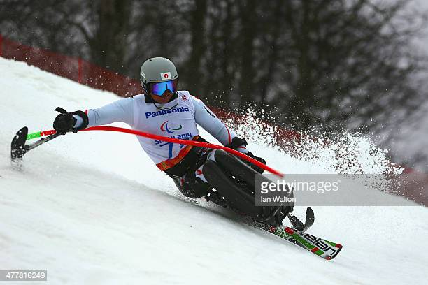 Taiki Morii of Japan competes in the Men's SC Slalom Run 1 Sittingduring day four of Sochi 2014 Paralympic Winter Games at Rosa Khutor Alpine Center...