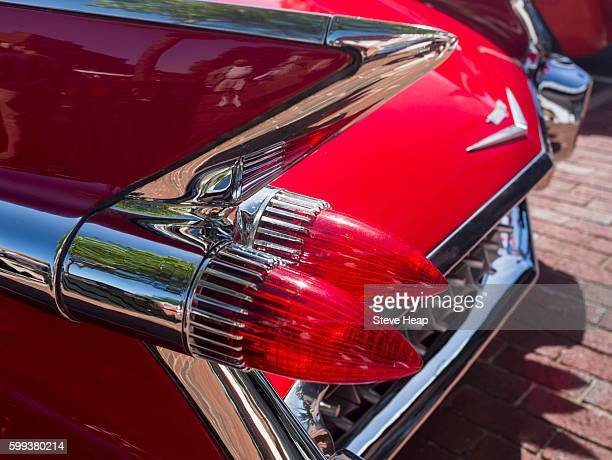 Tail lights and fins of 1959 Cadillac Eldorado antique car, USA