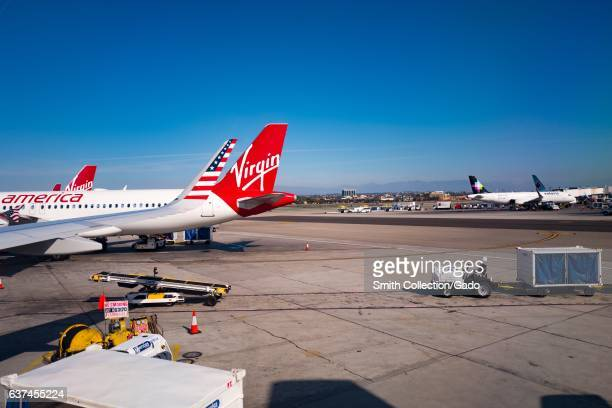 Tail of a Virgin America jet on the tarmac at Los Angeles International Airport Los Angeles California November 22 2016 As a result of a 2016 merger...