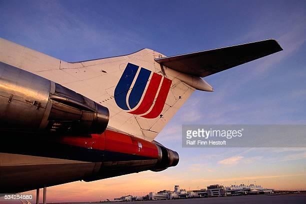 Tail of United airplane at Denver International Airport   Location Near Denver Colorado USA