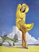 Tail Wind one of famed pinup artist Gil Elvgren's paintings mid 20th century