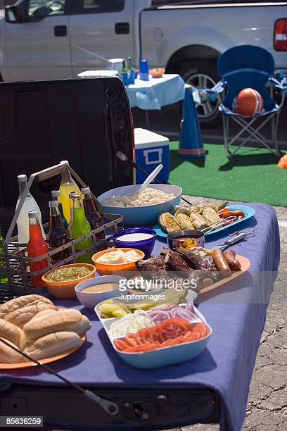 Tailgate party food and beverages