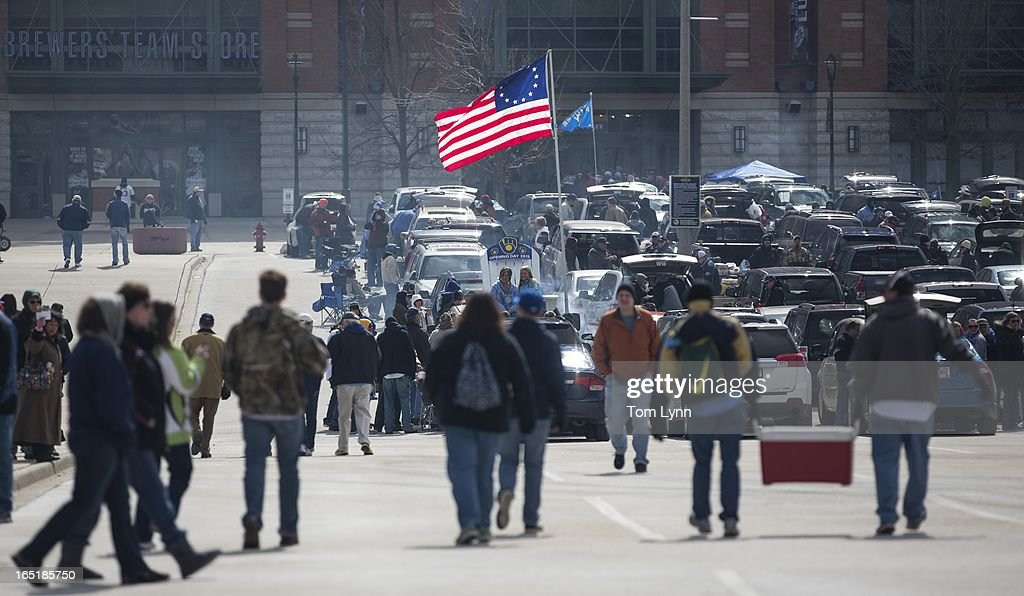 Tailgaters fill the parking lot for the game between the Milwaukee Brewers and Colorado Rockies on opening day at Miller Park on April 1, 2013 in Milwaukee, Wisconsin.
