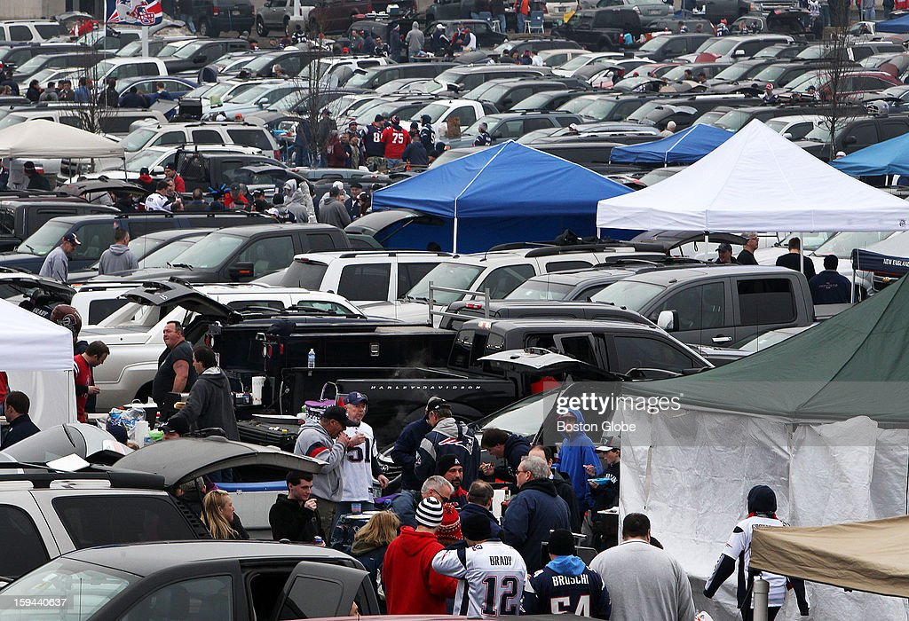 Tailgaters were out in force in the parking lots around the stadium before the New England Patriots hosted the Houston Texans in an NFL AFC Divisional Playoff Game at Gillette Stadium, Jan. 13, 2013.