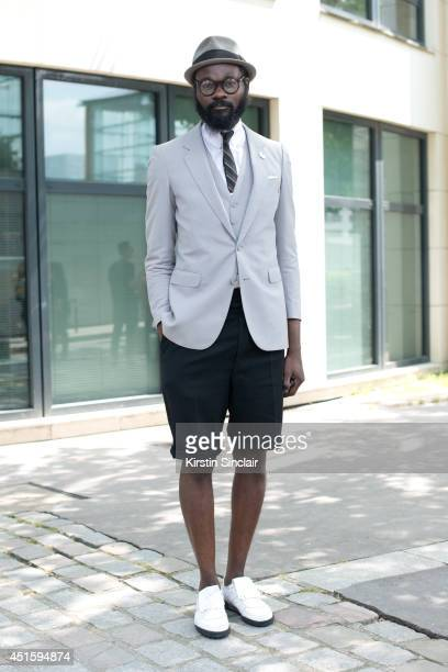 Tailor Shaka Maidoh wearing a vintage blazer Art Comes First shorts and Pony by Art Comes First shoes on day 2 of Paris Collections Men on June 26...