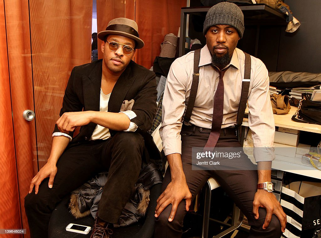 Tailor/designer Sherman Brown and NBA Player and designer <a gi-track='captionPersonalityLinkClicked' href=/galleries/search?phrase=John+Salmons&family=editorial&specificpeople=202524 ng-click='$event.stopPropagation()'>John Salmons</a> attend the Salmons & Brown Fall 2012 Collection launch at the Salmons & Brown Showroom on February 23, 2012 in New York City.