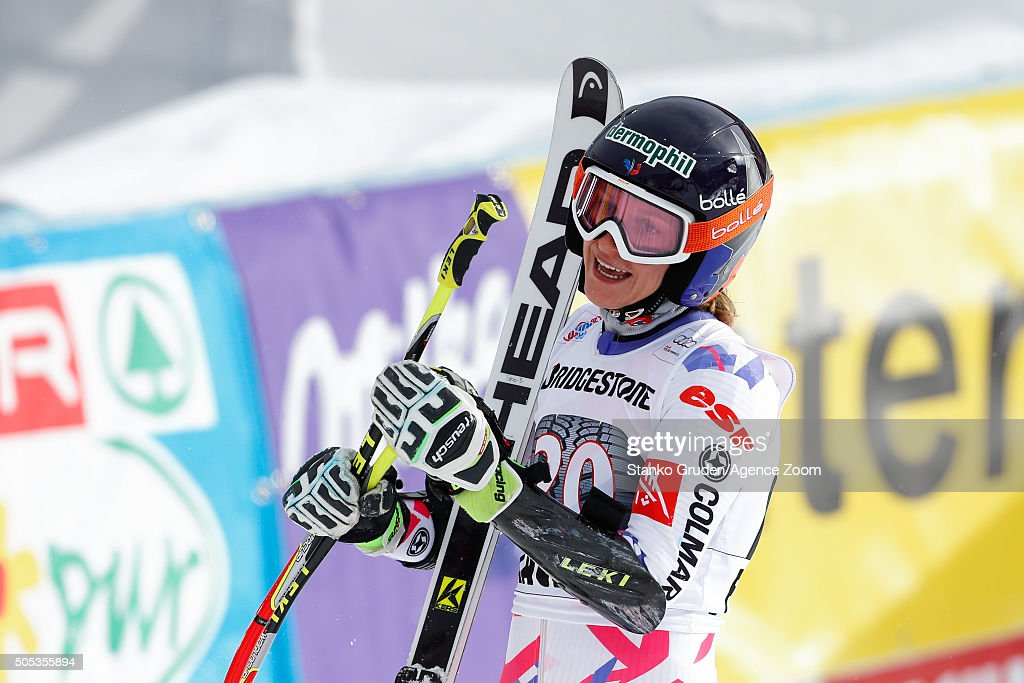 <a gi-track='captionPersonalityLinkClicked' href=/galleries/search?phrase=Taina+Barioz&family=editorial&specificpeople=5589542 ng-click='$event.stopPropagation()'>Taina Barioz</a> of France celebrates during the Audi FIS Alpine Ski World Cup Women's Giant Slalom on January 17, 2016 in Flachau, Austria.