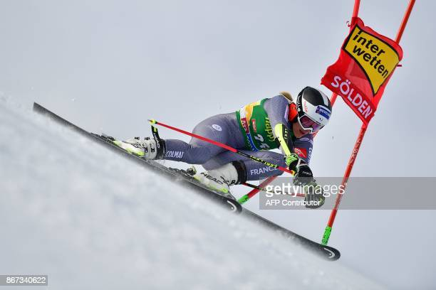 Taina Barioz of France competes during the women's Giant Slalom event of the FIS ski World cup in Soelden Austria on October 28 2017 / AFP PHOTO /...