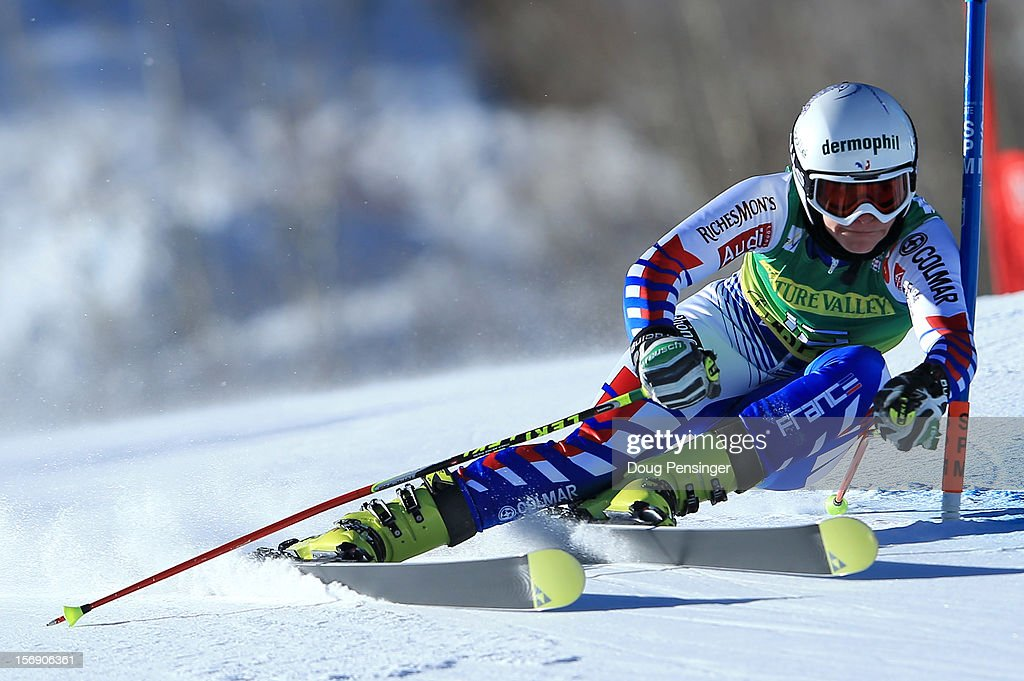 Taina Barioz of France skis her first run as she finished in seventh place in the women's giant slalom at the Nature Valley Aspen Winternational Audi FIS Ski World Cup at Aspen Mountain on November 24, 2012 in Aspen, Colorado.