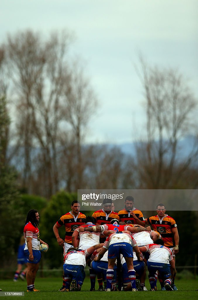 Tainui Brown of Horowhenua-Kapiti feeds the ball into the scrum during the Ranfurly Shield match between Waikato and Horowhenua-Kapiti at the Morrinsville Domain on July 17, 2013 in Morrinsville, New Zealand.
